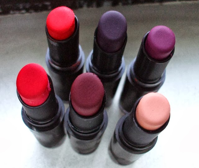 Wet n Wild Mega Last Lip Color inPurty Persimmon 970 Vamp It Up 919B Sugar Plum Fairy 908C Stoplight Red 911D Cherry Bomb 918D Pink Suga' 900B