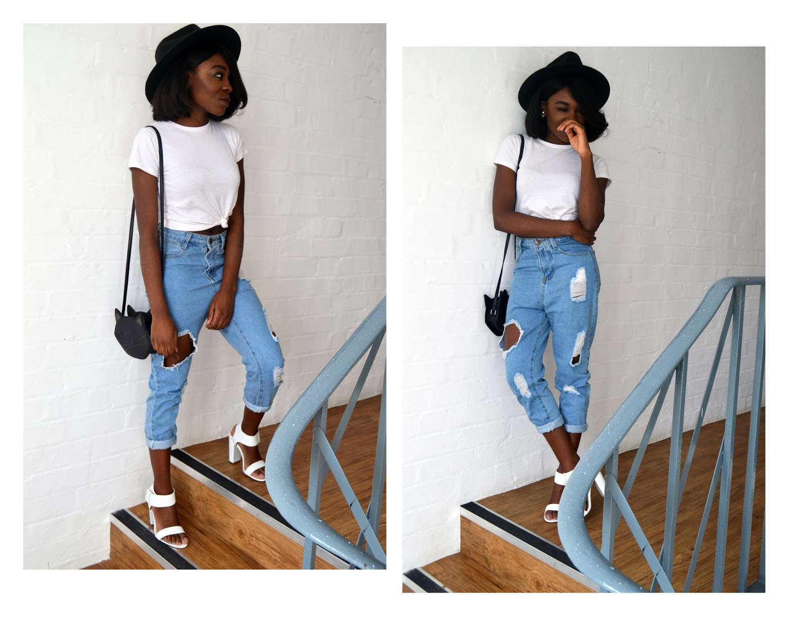 Closet Confidential, Boyfriend jeans, minimal, minimalist, wide brim hat, family, melanin, industrial, mill, african, family,brother,black boy, black girl, white tee,block heels,distressed,cat bag,kawaii