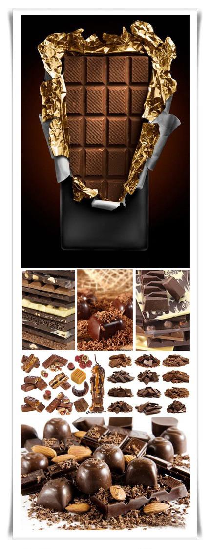 STOCK PHOTO صور عالية الجودة قطع الشيكولاتة الجميلة