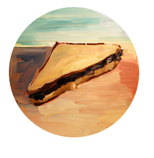 peanut butter and jelly sandwich painting, fine art illustration