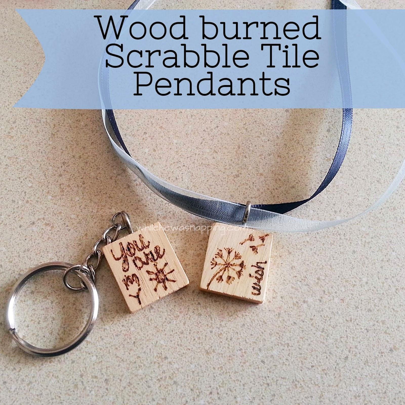 Wood Burnt Scrabble Tile Pendant Necklace Or Key Chain