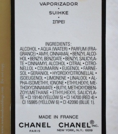 Chanel No. 5 EDT Perfume Fragrance Spray for Women - Ingredients