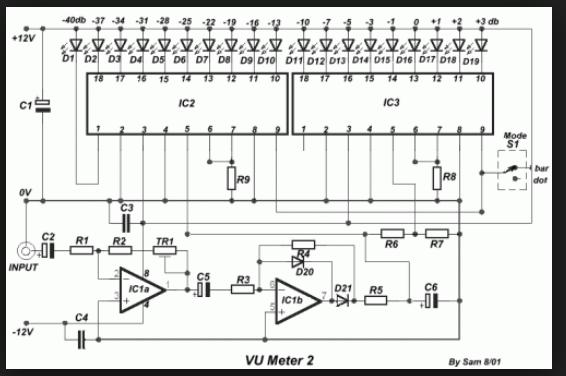wiring schematic diagram led bar dot vu meter using lm wiring schematic diagram 19 led bar dot vu meter using lm3915 lm3916 ics