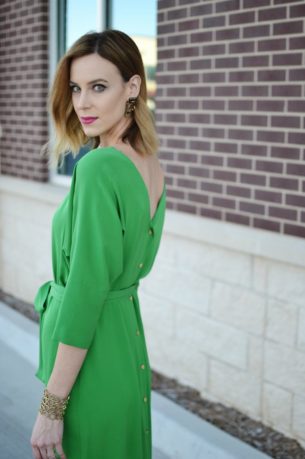 Winter Wedding, Green DVF Dress, Tan Heels, Glamorous