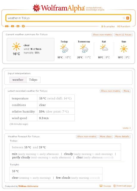 Búsqueda sobre el tiempo en Tokio en Wolfram Alpha