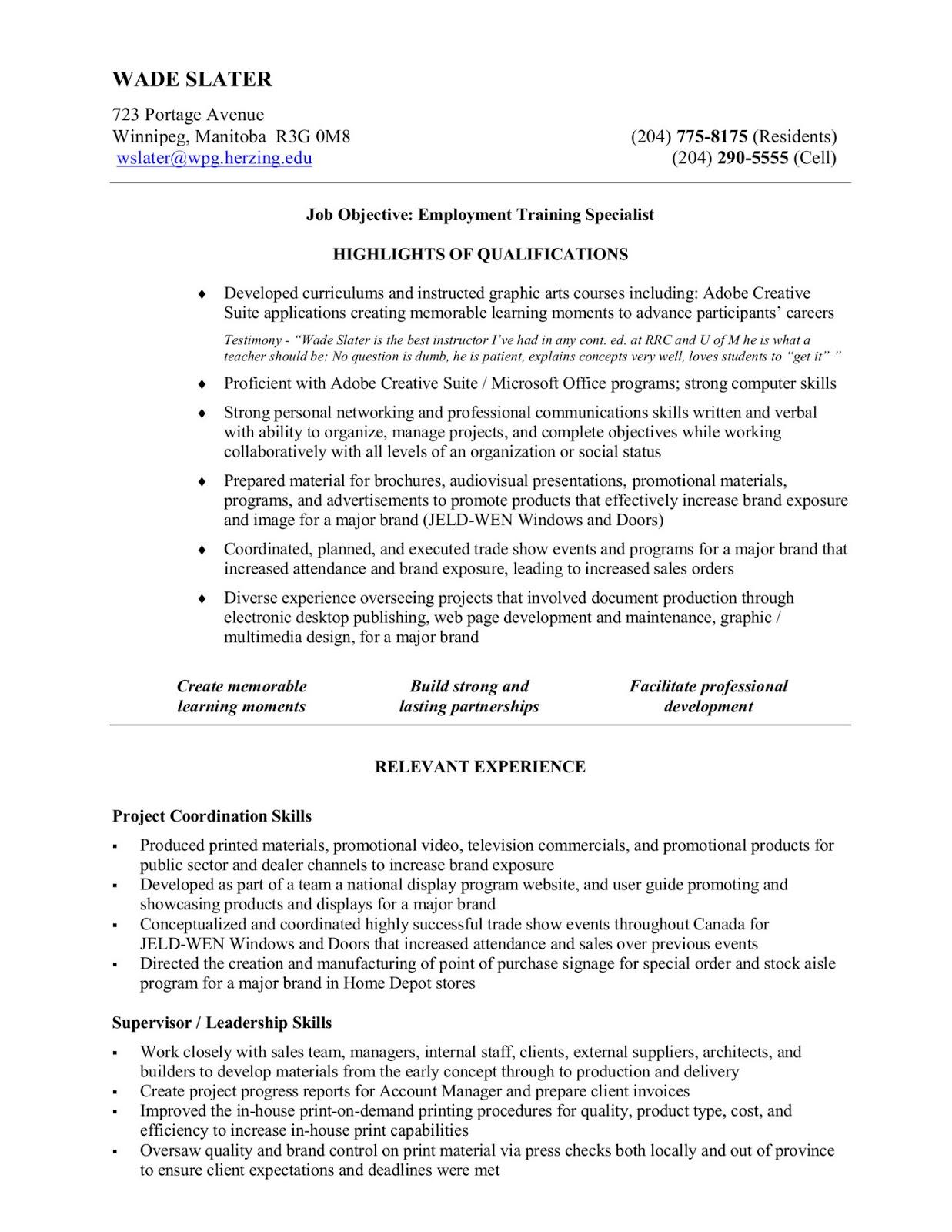Resume Examples | Wade Slater - Career Development