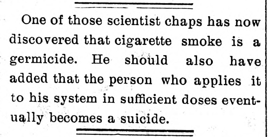 Clipping on germicidal effects of cigarette smoke