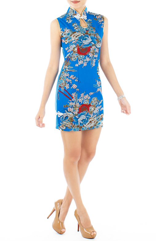 LUXE Oriental Spring Sleeveless Cheongsam in Blue Lotus