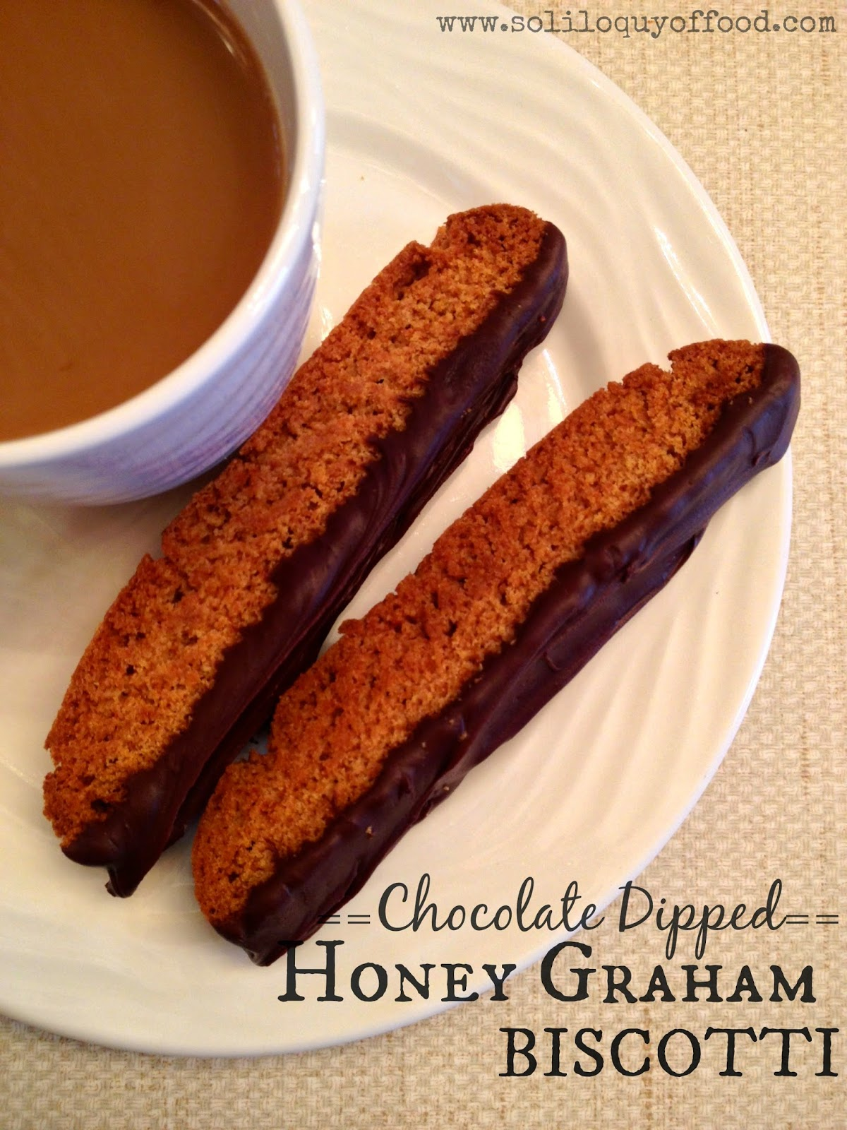 Chocolate Dipped Honey Graham Biscotti - AKA:  Melty-Chocolate Cookie-Dunking Nirvana!  www.soliloquyoffood.com via Love Bakes Good Cakes