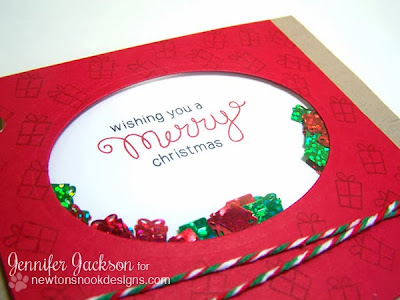 Shaker Card by Newton's Nook Designs Using Holiday Wishes Stamp Set