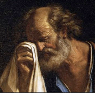 "Detail of ""St. Peter Weeping Before the Virgin"" - Guercino (1591-1666)"