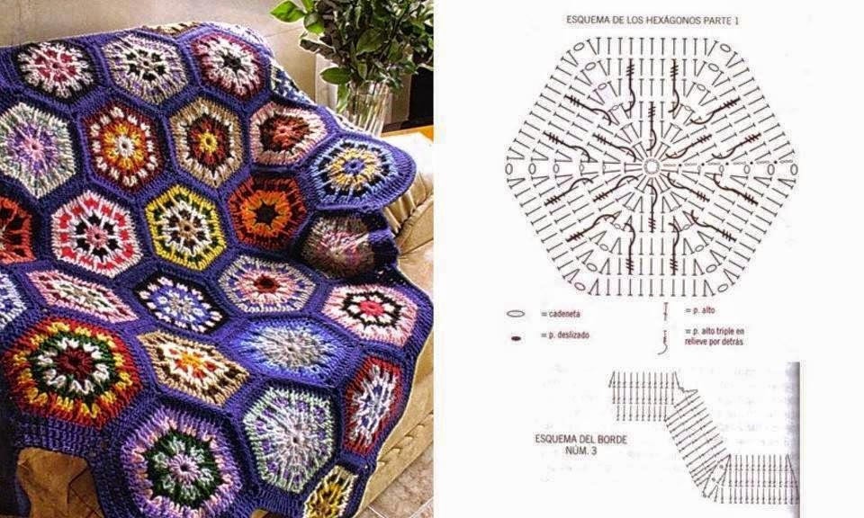 Manta con granny hexagonal