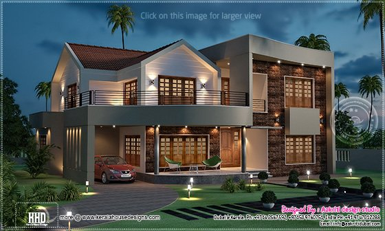 Night view of luxury villa in 3800 house design for Very beautiful home
