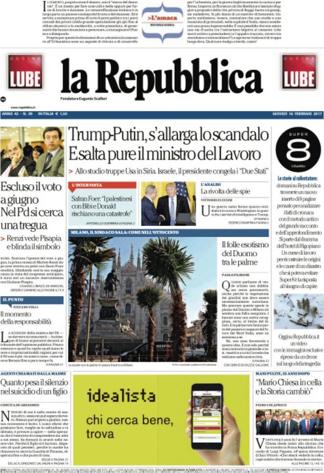 Reportages Quotidiani La Miglior Prima Pagina Di Oggi Giovedì 16