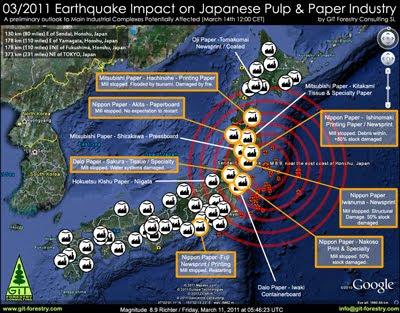 2011 Japan Earthquake Impact on Japanese Pulp and Paper Industry First Damage Report Map / Mapa de Impacto del Terremoto de Japon 2011 en la industria de pulpa celulosica y de papel del Japon / パルプ紙2011年の日本地震の影響の予備的な地図セルロース日本 / เยื่อแผ่นดินไหวญี่ปุ่นและแผนที่อุตสาหกรรมกระดาษ / Япония 2011 целлюлозно землетрясения и карта бумажной промышленности / Mapa de Impacto do Terramoto de Japão  2011, na industria do papel e celulose do Japão / Gustavo Iglesias Trabado, GIT Forestry Consulting SL, Consultoria y Servicios de Ingenieria Agroforestal, Lugo, Galicia, España, Spain / Eucalyptologics, Information resources on sustainable eucalypt cultivation worldwide / Recursos de informacion sobre el cultivo sostenible del eucalipto en el mundo