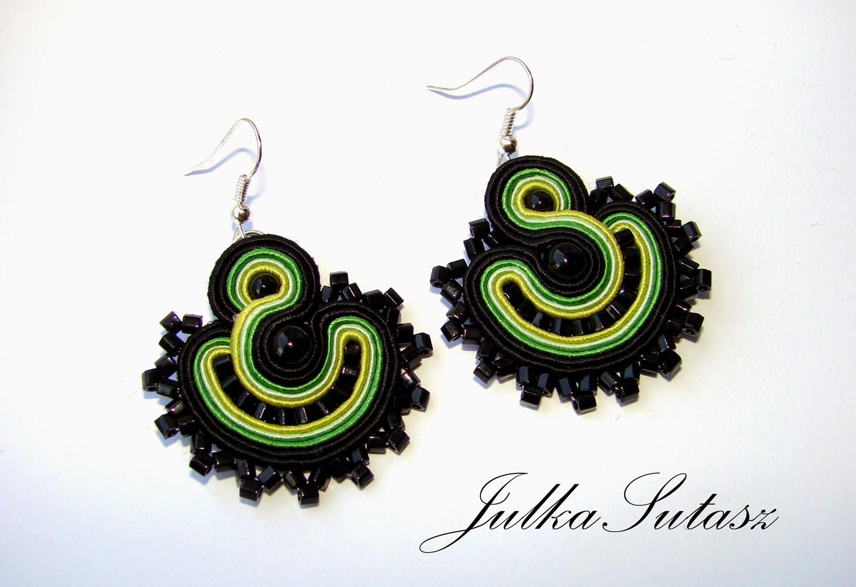 *Colorful fans: lime* mini soutache earrings