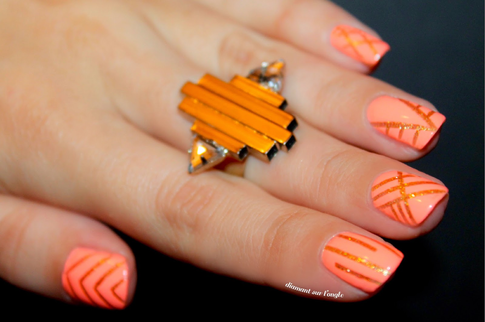 Coral and Gols Stripng Tape nail Art