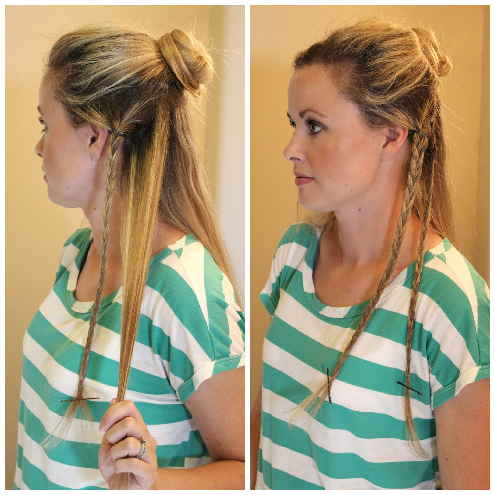 Step 5: Take The Next Section Back And Make Another Small Braid Secure The  End With A Bobby Pin As Well
