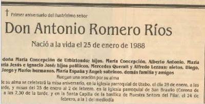 Esquela de Antonio Romero Ríos