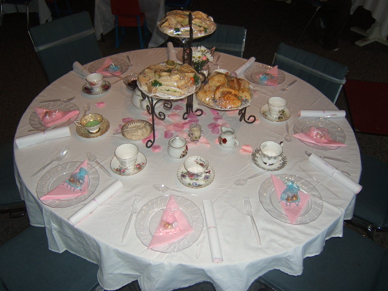 A tea party menu nannys english tea room - Table setting for a party ...