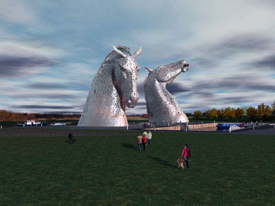the Kelpies by cliche artist Andy Scott - each head will contain a public toilet - male on the left, female on the right - photo by Graeme Gilmour