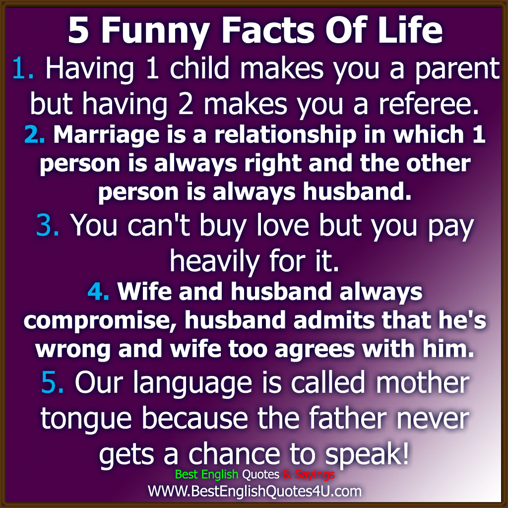 Lifes Quotes And Sayings 5 Funny Facts Of Life  Best'english'quotes'&'sayings