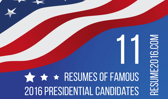 What would resumes of Presidential Election 2016 Candidates look like