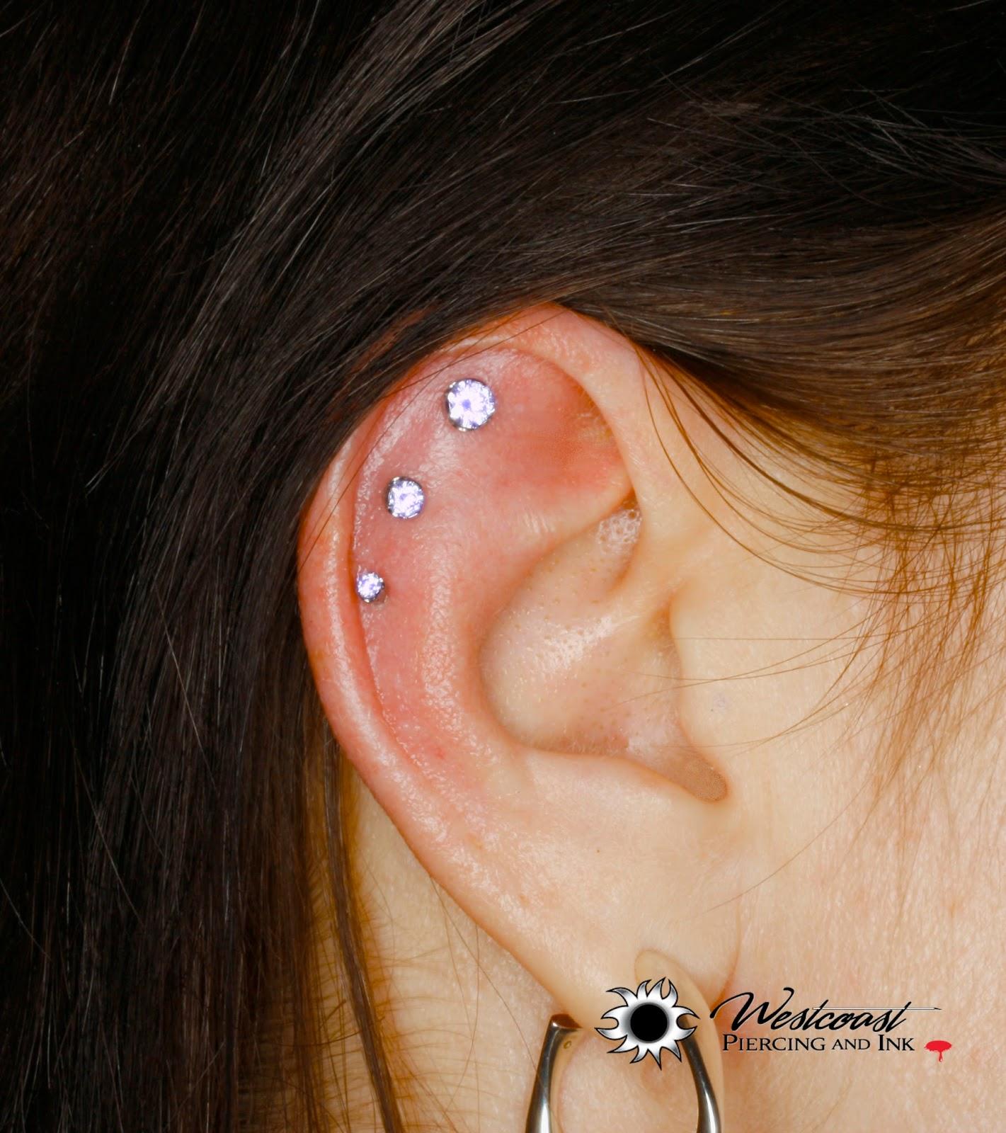 Westcoast Piercing And Ink: Stunning Triple Outer Helix ... Ear Piercings Triple Helix