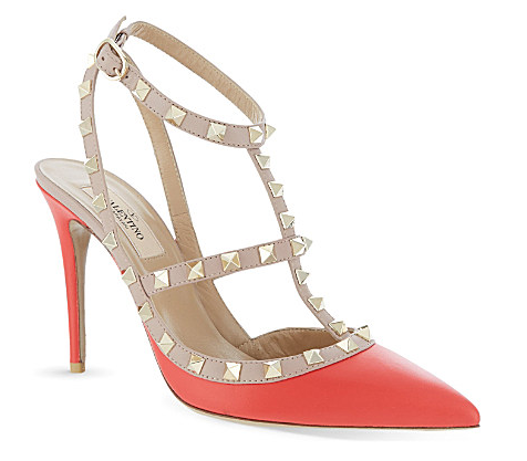 Valentino Rockstud Shoes Coral Nude Gold Selfridges