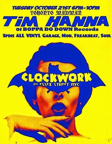 DJ Tim Hanna @ Clockwork (21 Essex St, NYC), tonight