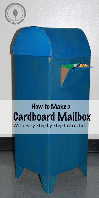 Step by step instructions for creating a big blue cardboard mailbox (DIY) Cardboard Creations