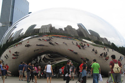 Mirror polished bean-shaped sculpture