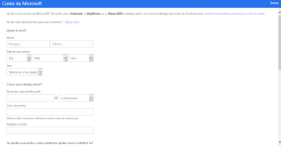 criar email hotmail