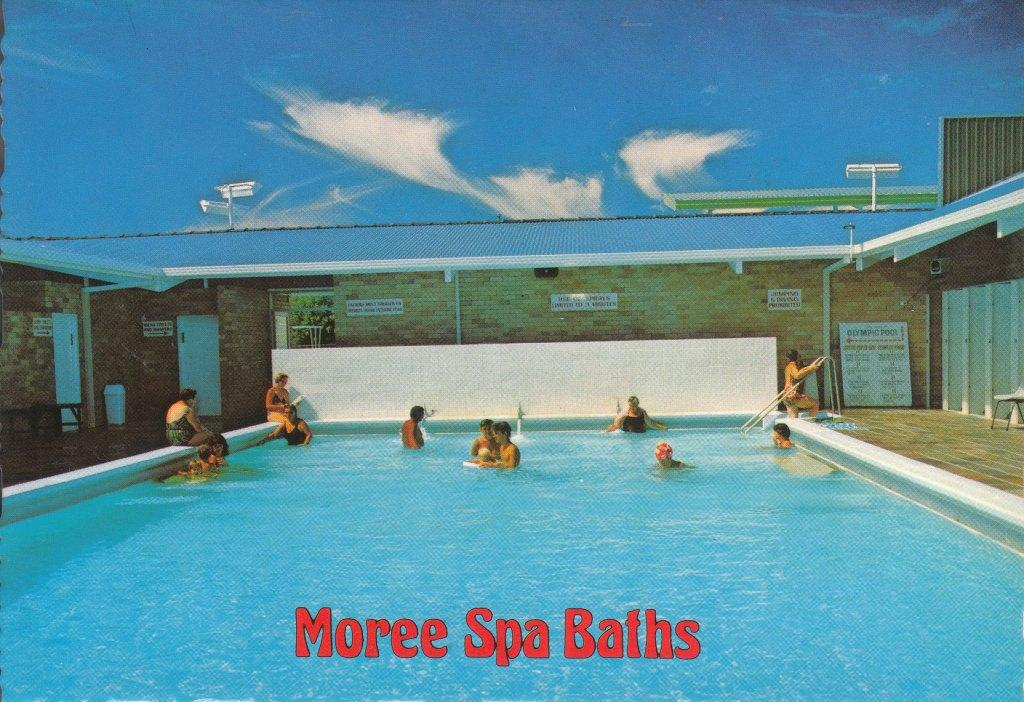 Swimming Pool Postcard Moree Spa Baths