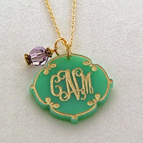 Arabesqe Acrylic Monogram Initial Necklace from EmilyRoseJewellery