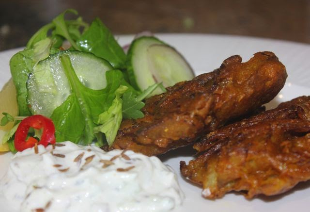 Onion bhajis with raita