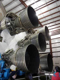 Spaceship thursters on display at the Houston Space Center