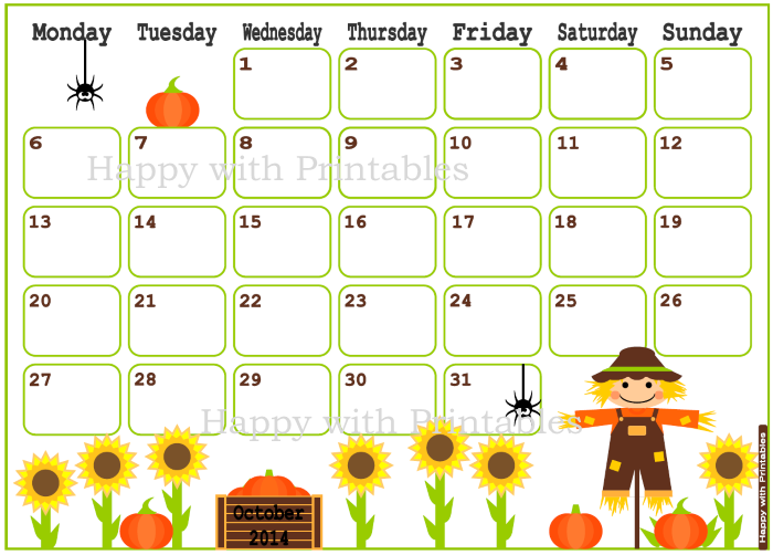 October 2014, calendar, cute calendar, Etsy Shop, Happy with printables, kawaii, printables, scarecrow