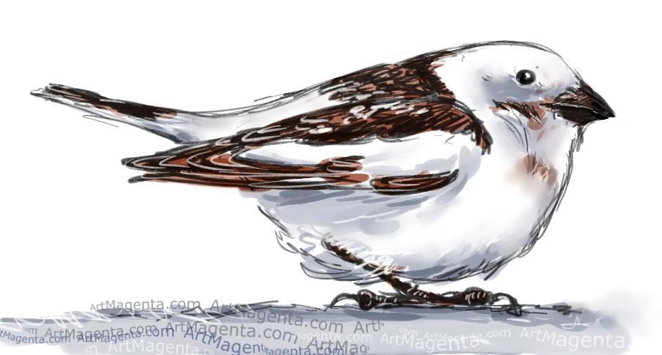 En fågelmålning av en snösparv från Artmagentas svenska galleri om fåglar