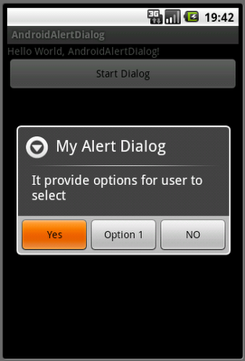 Dialog with options