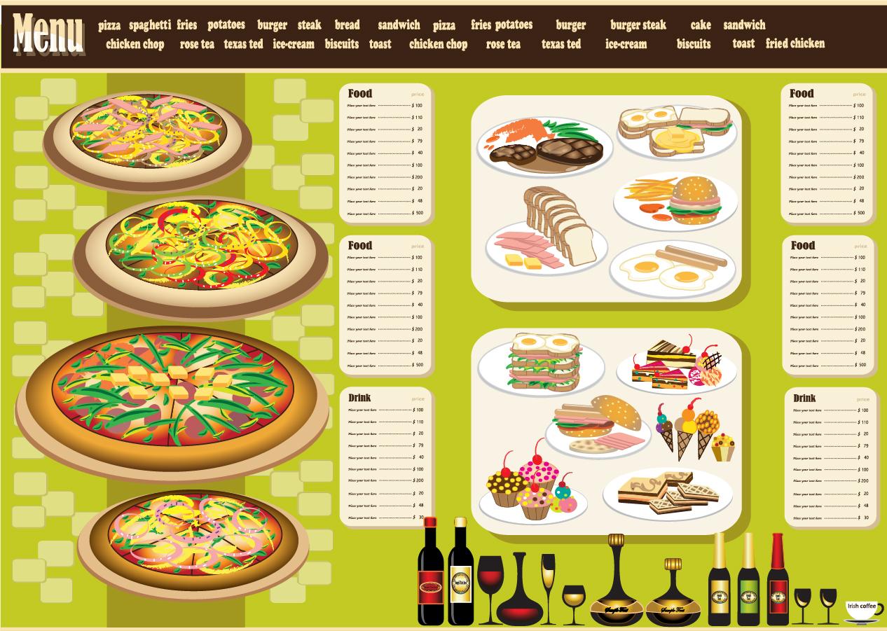レストラン メニュー デザイン テンプレート restaurant menu design イラスト素材