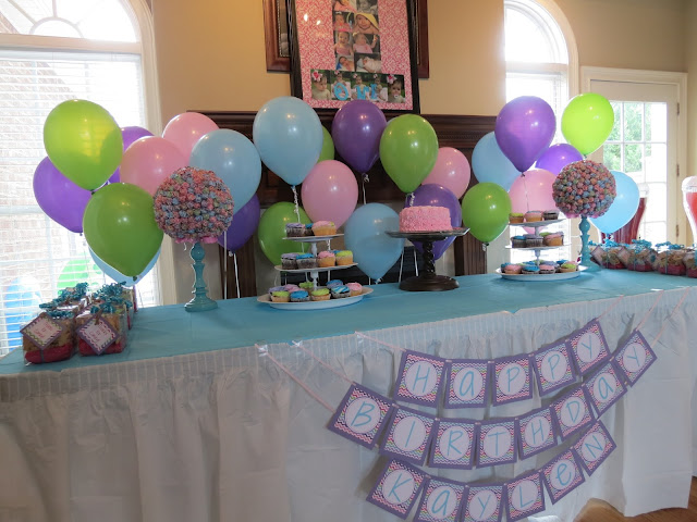 rainbow chevron birthday sweets table