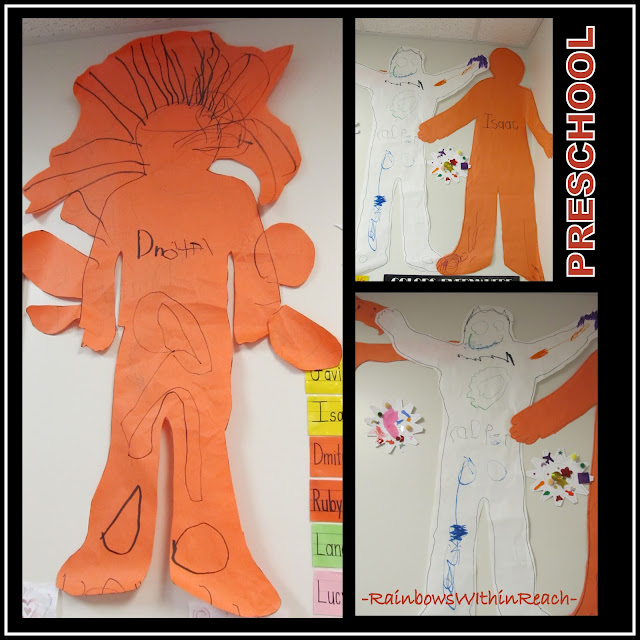 photo of: Preschool Life Size Self Portraits, complete with embelishments