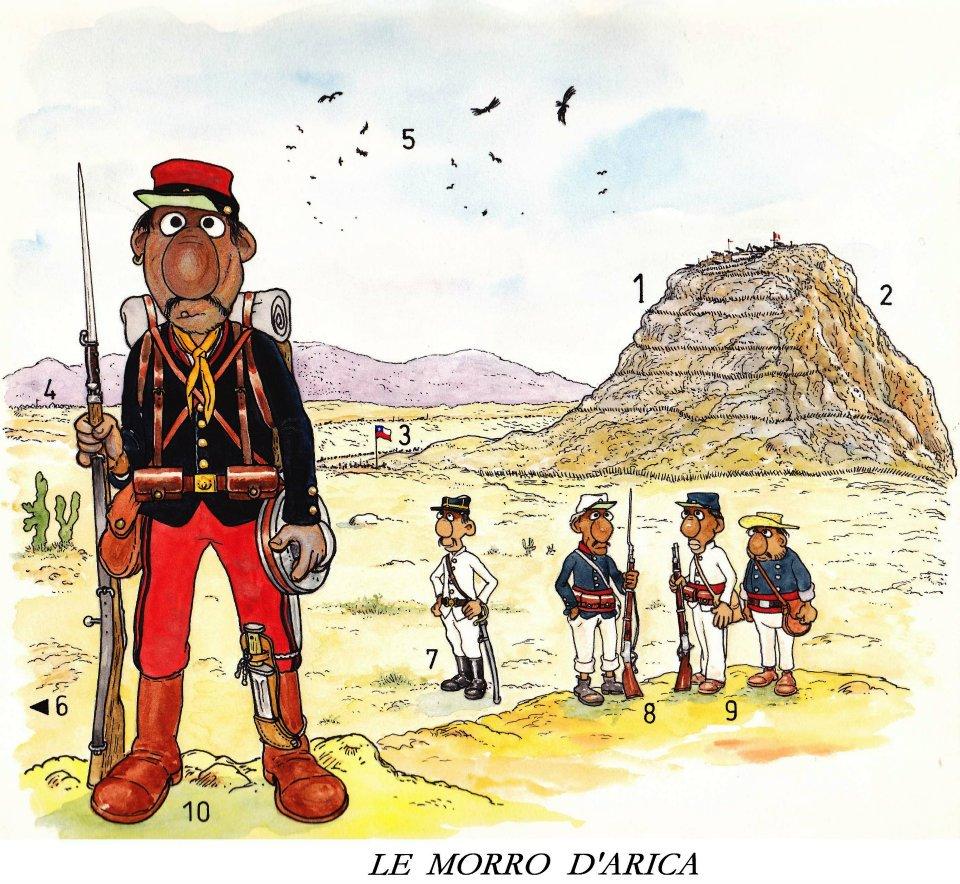 La Guerra del Pacífico 1879-1884 (Perú, Bolivia y Chile): dibujo de