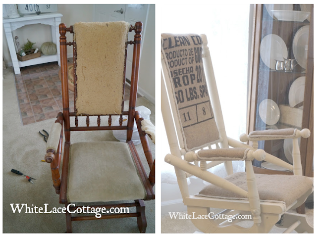 Coffee bean sack burlap rocking chair refab, by White Lace Cottage featured on Funky Junk Interiors