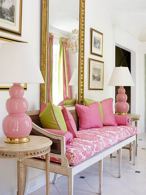 The pink porch wednesday pink fix - Pink and gold living room ...