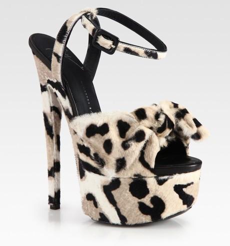 Giuseppe Zanotti Leopard Print Calf Hair Platform Sandals