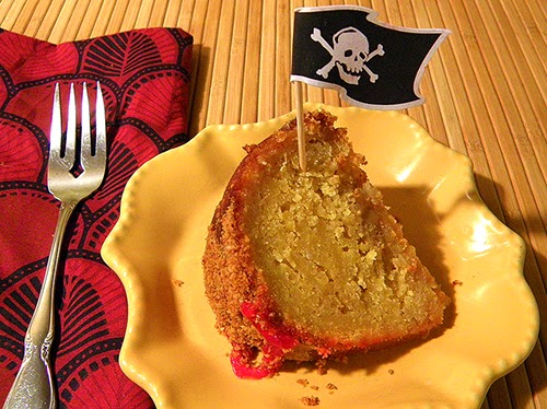 Slice of Cake with Pirate Flag