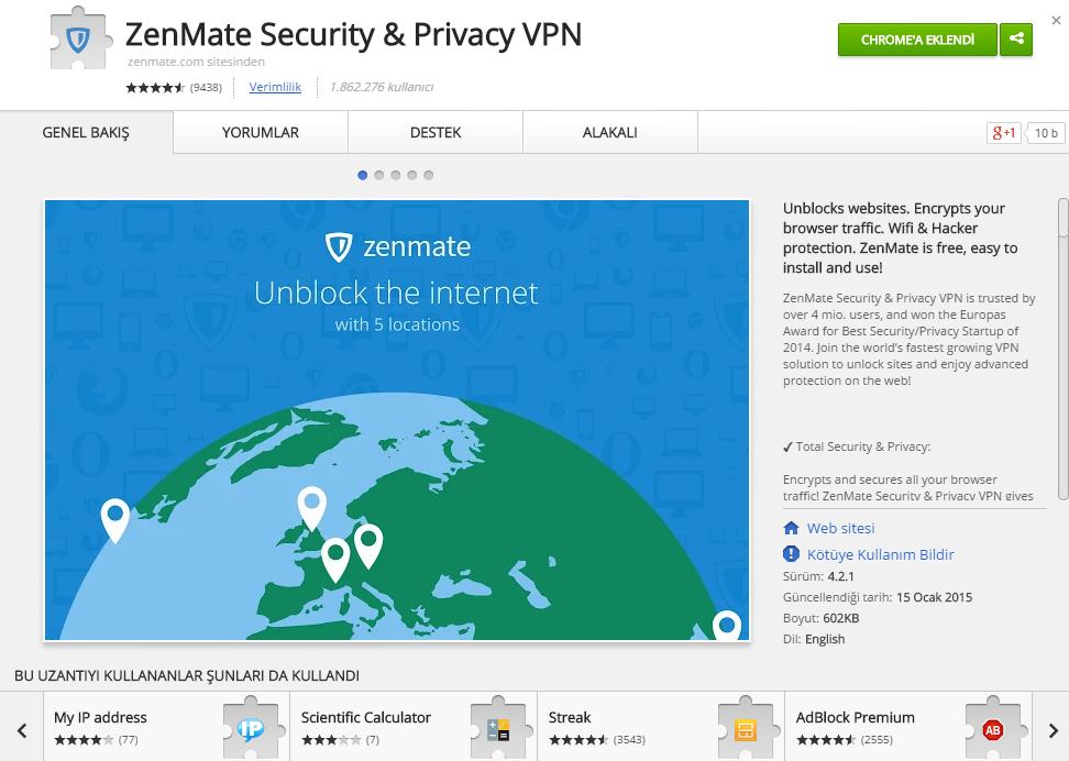 Zenmate VPN Uzantısı