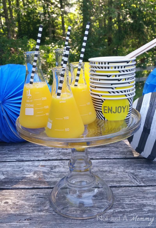 Minions Cereal Parfait Bar; juice flasks